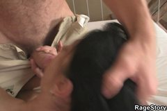 Brunette slut takes brutal deepthroat and fuck