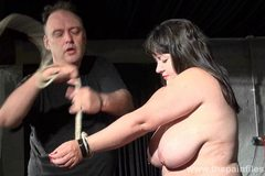 Busty bbw Andreas hardcore breast whipping and extreme amateur bdsm of punished slaveslut