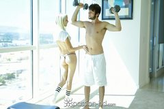 Sierra Nevadah gives her man a hand with his workout