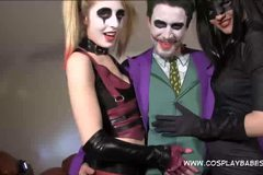 Jokes banging Harley Quinn and Catwoman sextape