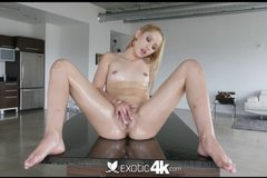 Pretty girl Goldie is oiled up and fucked