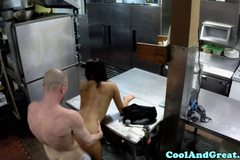 Tanned partybabe cockriding in commercial kitchen