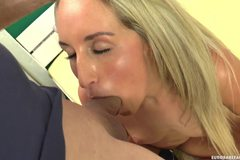 Gorgeous blonde Jenny gets to grips with a dick as she gets a messy facial