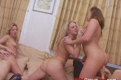 Hot babes enjoying wild orgy