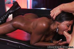 Deepthroating mature ebony masseuse assfucked