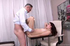 Tricky old teacher shows Esenia how a pussy