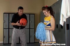 Brunette cheerleader fucks and sucks