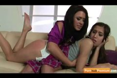 Teen April O'Neil gets a lesson from Eva Angelina