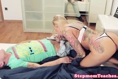 Tattooed euro cougar jizzed on after threeway