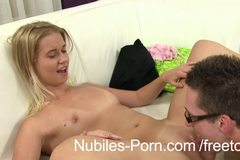 Tiny tit blonde earns a gooey creampie