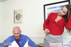 Hot office babe Dani Daniels riding cock