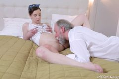 This old goes young guy admired Lenka's ass before licking her pussy