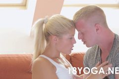 Blonde Teen Sandra Sweet Fucked In Her Yoga Outfit On the Couch