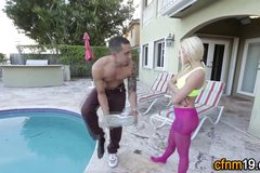 Cfnm teen jizzed by pool