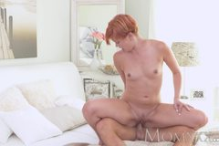Redhead Milf gets a good fucking before creampie from young stud