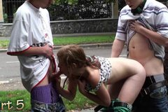 Very pretty teen PUBLIC street gangbang Part 5