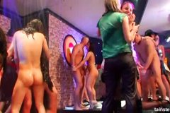 Kinky chicks partying naked in the club