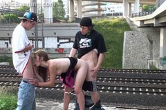 Extreme PUBLIC teen orgy at a train station