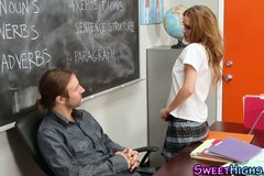 Uniform teen jizz faced