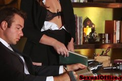 Flashing redhead secretary seducing her boss