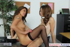 Gorgeous cuties Charmane Star and Kiera Winters fuck in the office