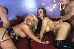 Carmella Bing and Candy Manson - huge tits strippers with super high heels boots