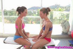 Nicole Aniston and Abigail Mac working out
