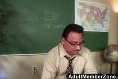 Naughty Nadia fucking her teacher to get out of trouble