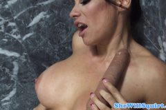 Squirting booty babe in bathroom fucked