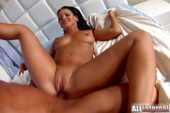 Dark haired babe Nia gets her pussy filled with warm cum