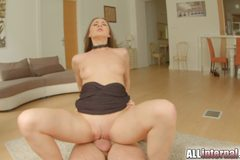 Gorgeous brunette rides dick and gets filled with spunk