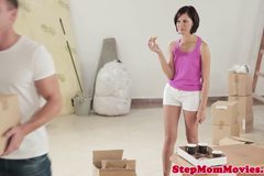 Glamcore stepmom enjoys naughty threeway after solo play