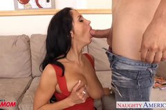 Brunette milf in pantyhose Ava Addams riding cock
