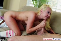 Blondes Aaliyah Love and Kagney Linn Karter share cock