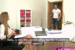 Amazing casting ends with studs spunk all over sexy agents tits