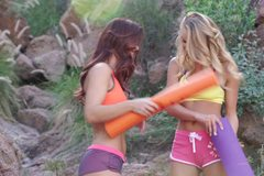 Lesbian babes cumming together