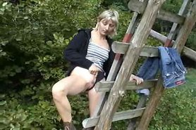 Outdoor masturbation with toy