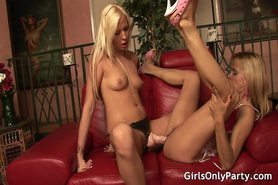 Blonde sluts sitting on sex toys