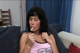 smoking milf gets it good