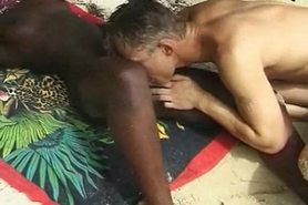 Hairy African Girl fuck Euro guy in the Beach