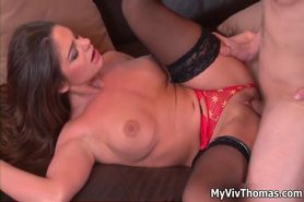 Sexy brunette babe gets horny getting fucked