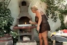 Hot Busty Granny Banging Outside