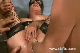 Brutal gang bang fist fucked amateur whore