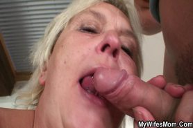 Horny granny seduces a young dude
