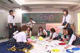 Japanese school girls group sex