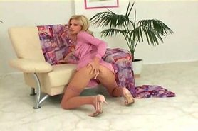 Skinny blonde fingering in nylons