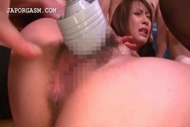 Asian horny bitches get cunts vibed in gangbang