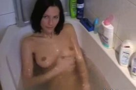 Teenage girl takes bath and gives head