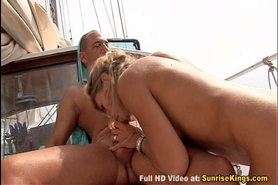 Threesome boat sex and double facial