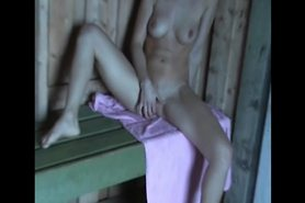 Blonde girl and outdoor sex